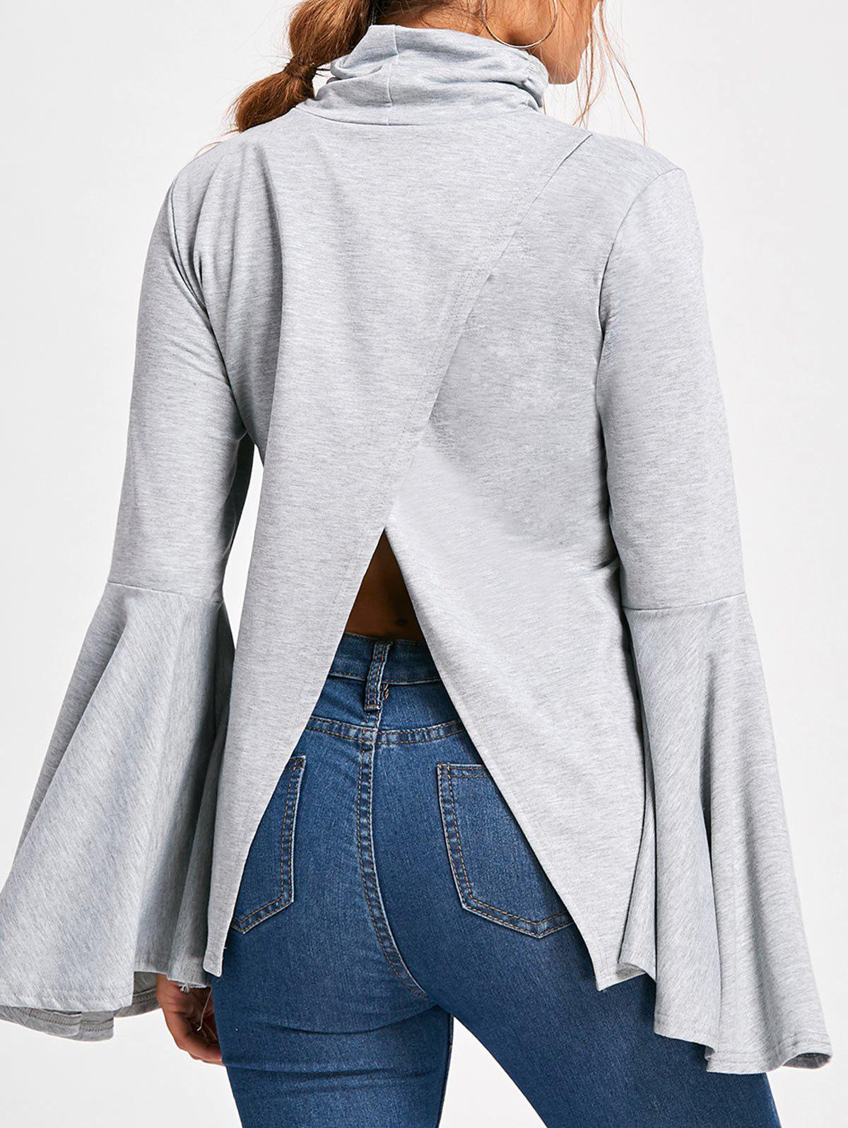 Sale Flare Sleeve High Neck Top