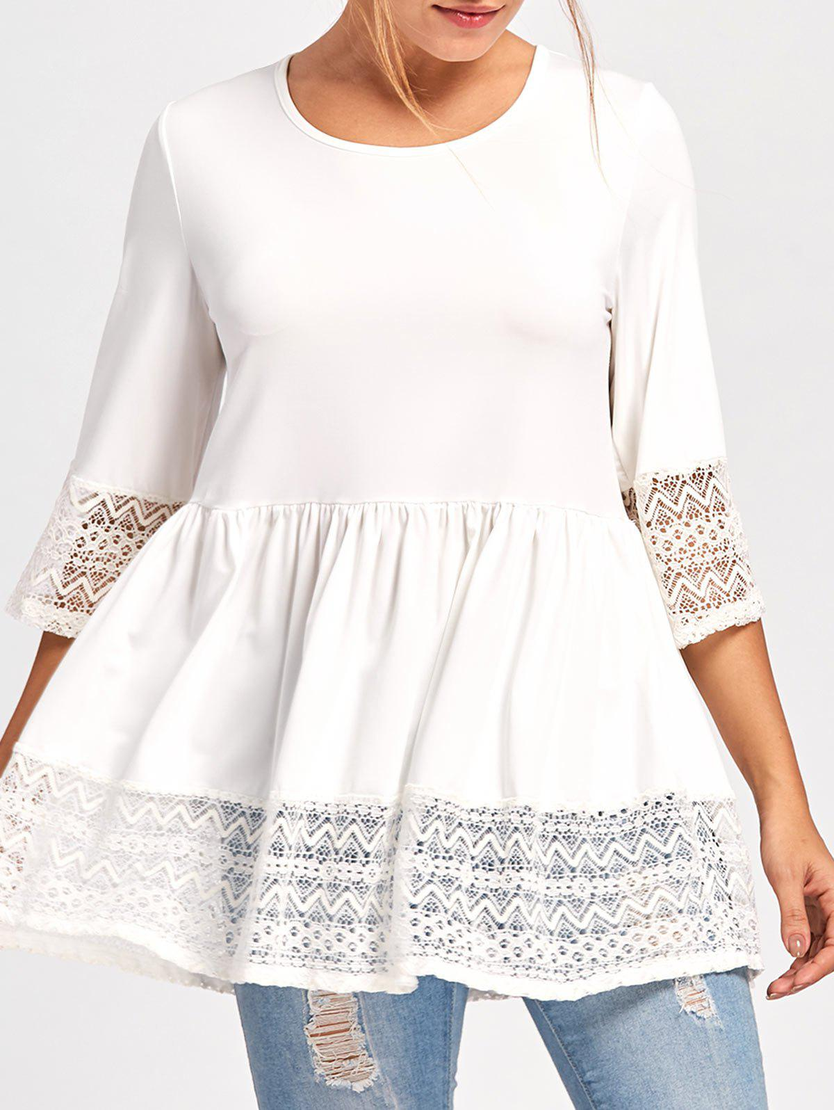 Lace Panel Peplum TopWOMEN<br><br>Size: L; Color: WHITE; Occasion: Casual,Party; Style: Lolita; Material: Polyester,Spandex; Shirt Length: Long; Sleeve Length: Three Quarter; Collar: Crew Neck; Pattern Type: Solid; Embellishment: Lace; Season: Fall,Spring; Weight: 0.3000kg; Package Contents: 1 x Top;