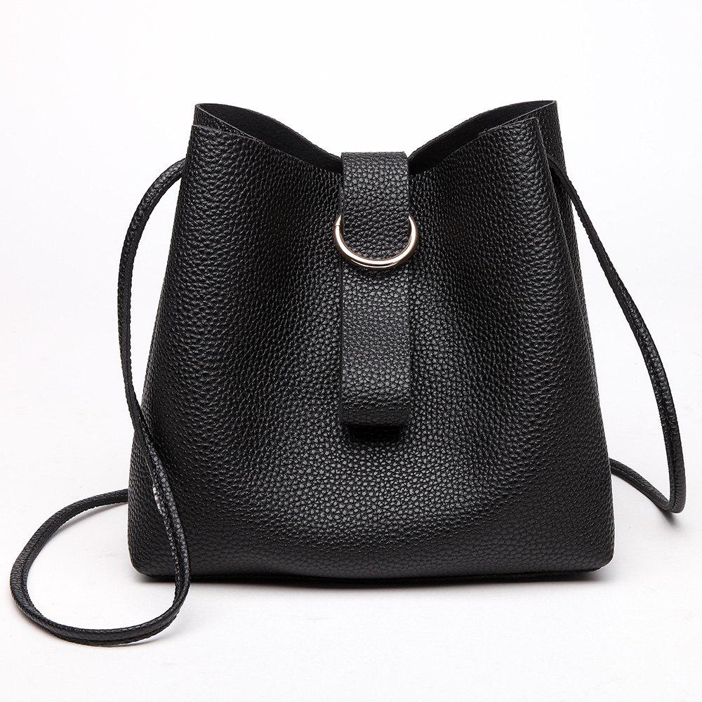 Grommet PU Leather HandbagSHOES &amp; BAGS<br><br>Color: BLACK; Handbag Type: Totes; Style: Fashion; Gender: For Women; Pattern Type: Solid; Handbag Size: Small(20-30cm); Closure Type: No Zipper; Occasion: Versatile; Main Material: PU; Weight: 0.6000kg; Size(CM)(L*W*H): 22*10*22; Package Contents: 1 x Handbag;
