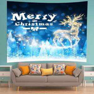 Christmas Deer Print Tapestry Wall Hanging Art Decoration - BLUE W91 INCH * L71 INCH