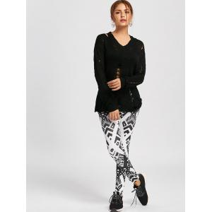 Skinny Geometric Print Leggings - WHITE AND BLACK S