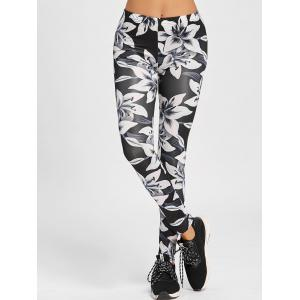 Low Waisted Floral Skinny Leggings - WHITE AND BLACK S