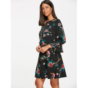 Flower Leaf Print Mini Shift Dress - Noir S