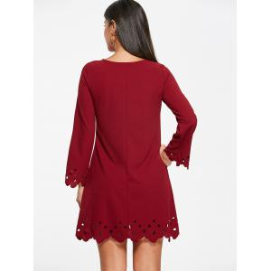 Cut Out Trim Long Sleeve Shift Babydoll Dress - Rouge vineux  S
