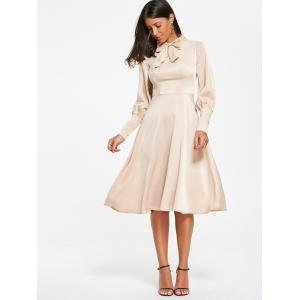 Bow Tie Collar Cuff Sleeve Flared Dress -