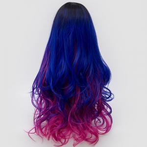 Long Side Parting Shaggy Layered Wavy Ombre Synthetic Party Wig - ROSE RED + BLUE