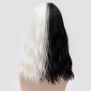Medium Full Bang Double Color Natural Wave Synthetic Party Wig - WHITE AND BLACK