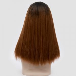 Longue partie médiane Fluffy Ombre Straight Synthetic Party Wig -