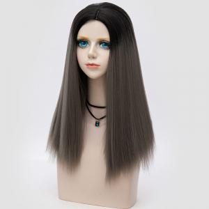 Long Middle Part Fluffy Ombre Straight Synthetic Party Wig - DARK DEEP GREY OMBRE
