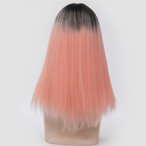 Long Middle Part Fluffy Ombre Straight Synthetic Party Wig -