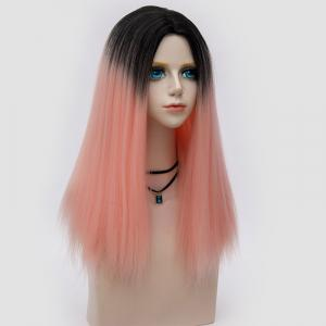 Long Middle Part Fluffy Ombre Straight Synthetic Party Wig - PAPAYA