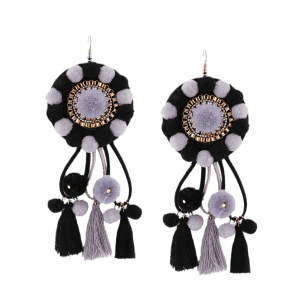 Rhinestone Floral Tassel Fuzzy Ball Earrings -