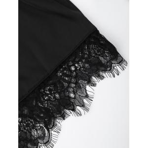 Lace Sheer Bra with Pajama Shorts - BLACK L