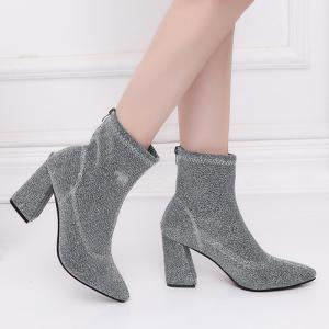 Glitter Zipper Pointed Toe Ankle Boots - SILVER 35
