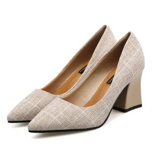 Pointe au pied Chunky Heel Plaid Pumps - Abricot 39