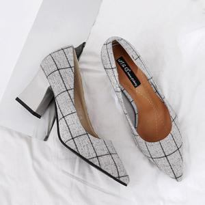Pointe au pied Chunky Heel Plaid Pumps - Gris 39