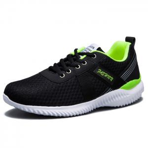 Breathable Mesh Lace Up Sneakers - NEON GREEN 44
