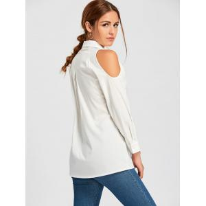 Button Down Cold Shoulder Tunic Shirt - WHITE S