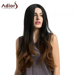 Adiors Long Middle Part Slightly Curled Ombre Synthetic Wig - BLACK AND BROWN