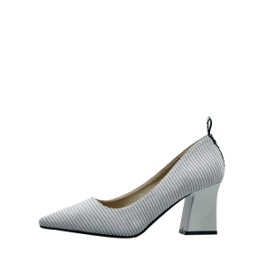 Chunky Heel Stripes Pointed Toe Pumps - Gris 37
