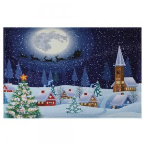 Bathroom Antiskid Christmas Tree Snow Moon Rug -