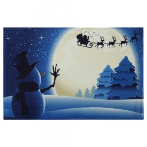 Christmas Snowman Moon Tree Antiskid Bath Mat -