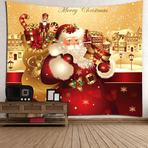 Waterproof Father Christmas Printed Wall Hanging Tapestry - COLORFUL W79 INCH * L71 INCH