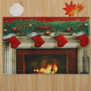 Christmas Fireplace Socks Antiskid Bath Rug -