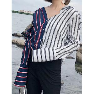 Color Block Striped V Neck Shirt - COLORMIX S