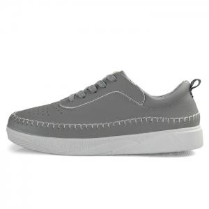 Whipstitch Faux Leather Low-top Sneakers - GRAY 44