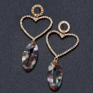Faux Agate Rhinestone Heart Dangle Earrings -