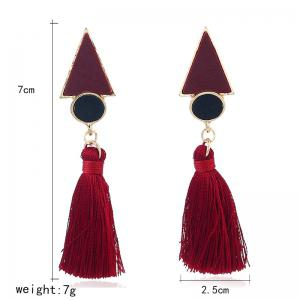 Antique Round Triangle Tassel Earrings -