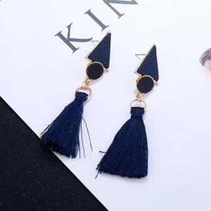 Antique Round Triangle Tassel Earrings - NAVY BLUE
