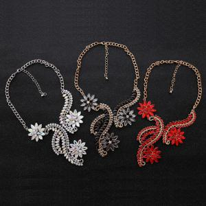 Collier strass Faux Crystal Flower Statement - Rouge