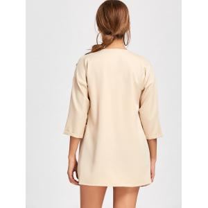 Double Pockets Open Front Tunic Coat - APRICOT XL