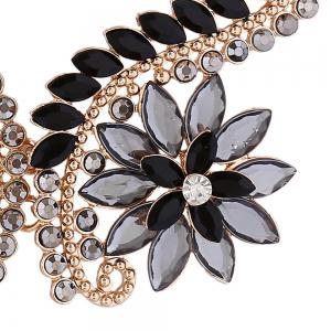Rhinestone Faux Crystal Flower Statement Necklace - BLACK