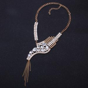 Sparkly Rhinestone Fringed Statement Collier -