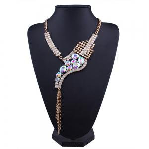 Sparkly Rhinestone Fringed Statement Collier - Multicolore