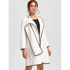 Striped Trim Woolen Duster Coat - WHITE M