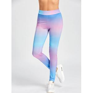 High Waist Skinny Ombre Leggings - COLORMIX S
