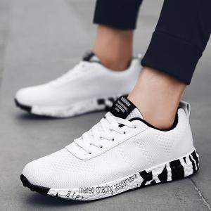 Mesh Letter Breathable Sneakers - WHITE 44