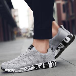 Mesh Letter Breathable Sneakers - GRAY 40