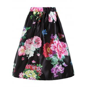 Floral Print High Waisted Midi Skirt -