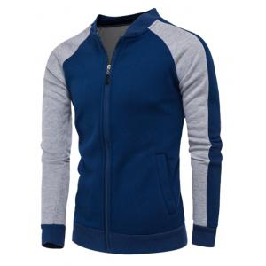 Color Block Raglan Sleeve Zip Up Jacket - Bleu Cadette XL
