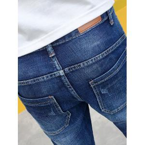 Zipper Fly Panel Stretchy Ripped Jeans - BLUE 32