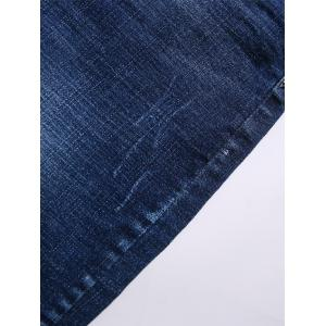 Bleach Wash Hemming Graphic Print Jeans - BLUE 32