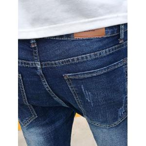 Bleach Wash Panel Stretchy Jeans - BLUE 32