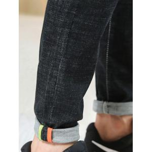 Slim Fit Zipper Fly Straight Leg Jeans - BLACK 36