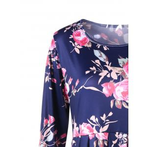Floral Long Sleeve Fit and Flare Dress - BLUE M