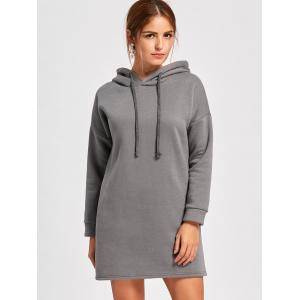 Drop Shoulder Mini Hoodie Dress - SMOKY GRAY 2XL